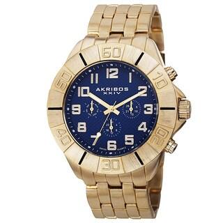 Akribos XXIV Men's Swiss Quartz Multifunction Dual-Time Blue Bracelet Watch