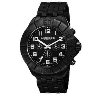 Akribos XXIV Men's Swiss Quartz Multifunction Dual-Time Black Bracelet Watch