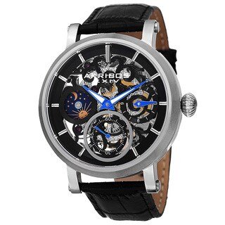 Akribos XXIV Men's Automatic Multifunction Dual-Time Skeleton Dial Leather Silver-Tone Strap Watch