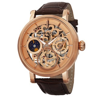 Akribos XXIV Men's Automatic Multifunction Dual-Time Skeleton Dial Leather Rose-Tone Strap Watch