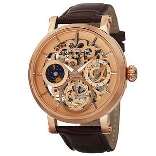 Akribos XXIV Men's Automatic Multifunction Dual-Time Skeleton Dial Leather Rose-Tone Strap Watch with FREE GIFT|https://ak1.ostkcdn.com/images/products/9908748/P17067155.jpg?impolicy=medium