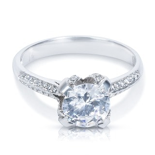 Tacori Platinum 2536 RD Cubic Zirconia Center Stone 1/6ctw Diamond Engagement Ring (G-H, VS1-VS2)