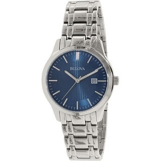 Bulova Men's 96B222 Blue Dial Stainless Steel Quartz Watch