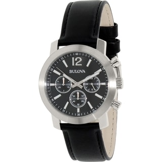Bulova Men's 96A159 Black Leather Strap Quartz Watch