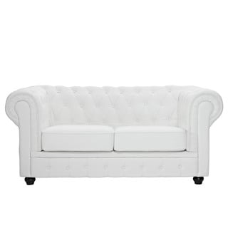 Modway Chesterfield Loveseat in White Leather and Leather Match
