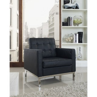 Modway Florence Style Armchair in Black Genuine Leather