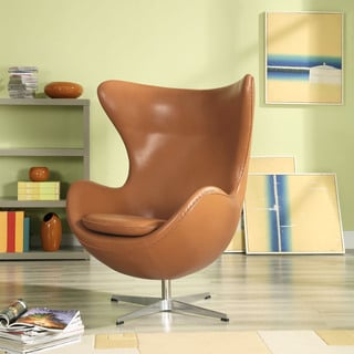 Glove Leather Lounge Chair in Terracotta
