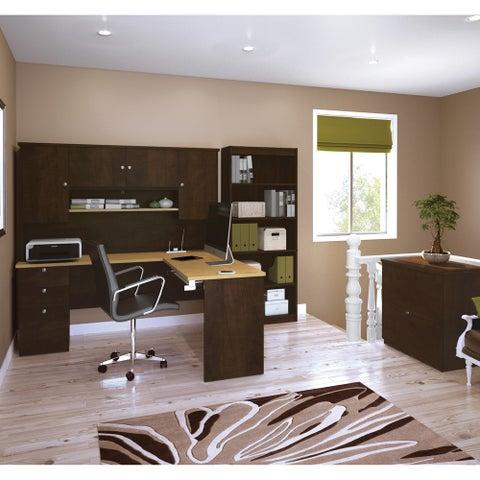Bestar Manhattan Secret Maple/ Chocolate Lateral File/ Bookcase L-shaped Workstation Desk