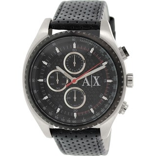 Armani Exchange Men's AX1600 Black Leather Quartz Watch