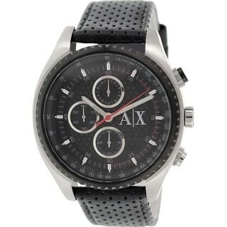 Armani Exchange Men's AX1600 Black Leather Quartz Watch