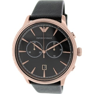 Emporio Armani Men's Classic AR1792 Black Leather Quartz Watch
