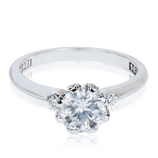 Tacori 18k White Gold Cubic Zirconia 1/6 ct TDW Diamond Engagement Ring (G-H, VS1-VS2)