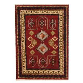 Herat Oriental Indo Hand-knotted Tribal Kazak Burgundy/ Light Green Wool Rug (4'7 x 6'6)