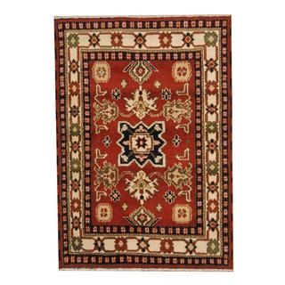 Herat Oriental Indo Hand-knotted Tribal Kazak Burgundy/ Navy Wool Rug (4'2 x 5'10)