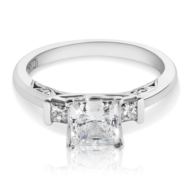 TACORI 18k White Gold 2605 PR 5.5 W 3-stone Princess CZ C...