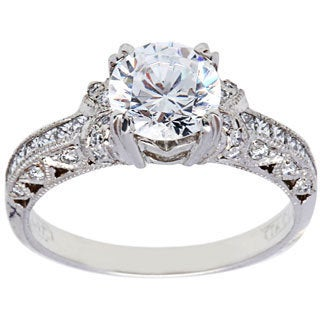 Tacori Platinum Cubic Zirconia 2/5ct TDW Diamond Engagement Ring (G-H, VS1-VS2)