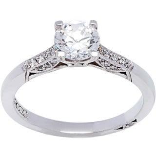 Tacori 18k White Gold Cubic Zirconia 1/10ct TDW Diamond Ring (G-H, VS1-VS2)