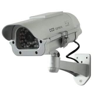 Solar-powered Silver Indoor/ Outdoor Dummy Security Camera with LED