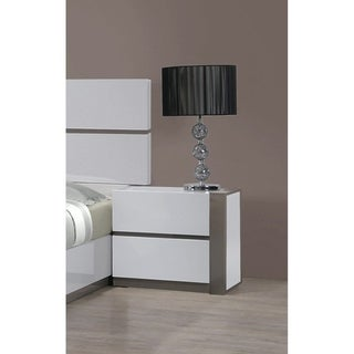 Somette Mehdi Gloss White/ Grey 2-drawer Nightstand