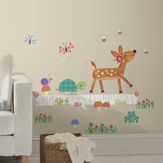Roommates Woodland Baby Animal Log Peel and Stick Wall Decal