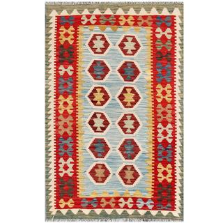 Herat Oriental Afghan Hand-woven Tribal Wool Kilim (3'2 x 5')