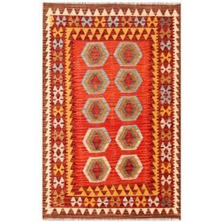 Herat Oriental Afghan Hand-woven Tribal Wool Kilim (3'4 x 5'1)