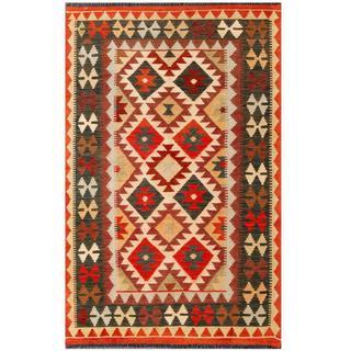 Herat Oriental Afghan Hand-woven Tribal Wool Kilim (3'5 x 5'4)