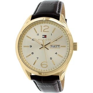 Tommy Hilfiger Men's 1791059 Goldtone Stainless Steel Leather Strap Analog Quartz Watch