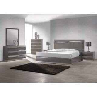 Somette Devlin Modern High Gloss Grey Bed