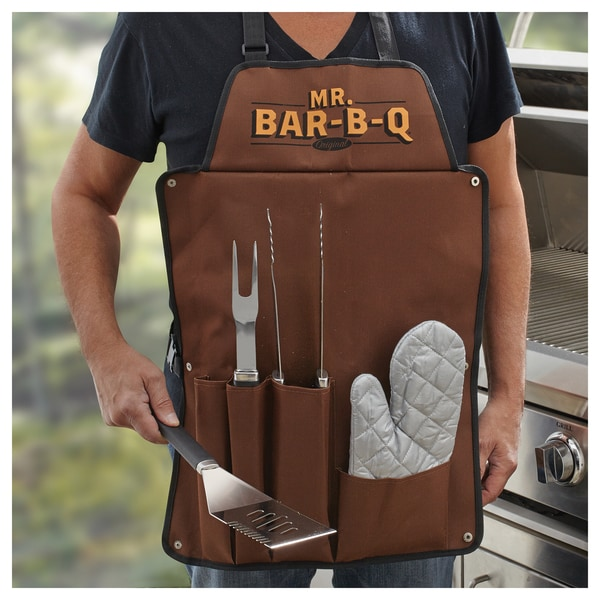 Mr. Bar.B.Q Stainless Steel Grill Tool Set w Apron