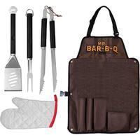 Mr. Bar.B.Q Stainless Steel Grill Tool Set w Apron