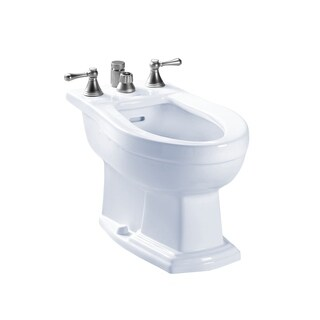 Toto Clayton Deck Mount Vertical Spray Flushing Rim Bidet BT784B#01 Cotton White