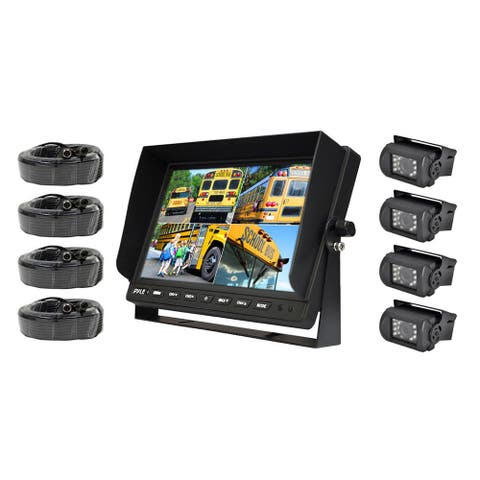 Pyle PLCMTR104 Backup Camera 10.1-inch LCD Monitor Quad Control Screen with 4 IR Night Vision Cameras for Trucks, and Trailers