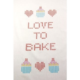 Set of 2 'Love to Bake' Embroidered Cotton Kitchen Towels (India)