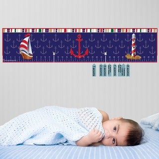 Blue Nautical Peel and Stick Baby Growth Chart