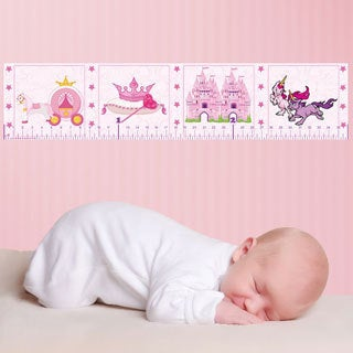 Pink Princess Peel and Stick Baby Growth Chart