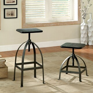 Furniture of America Gorden Industrial Adjustable Swivel Bar Stool