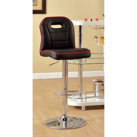 Furniture of America Nopp Modern Faux Leather Padded Swivel Barstool
