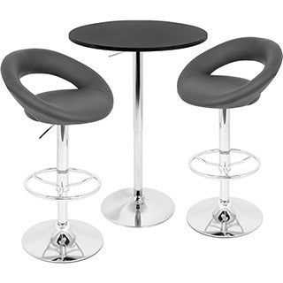 LumiSource Black Posh Adjustable 3-piece Pub Set