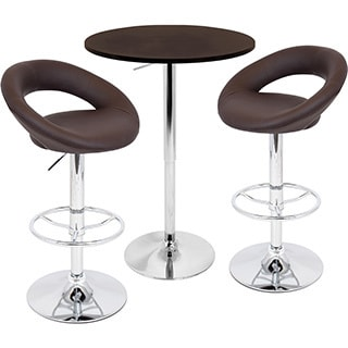 LumiSource Brown Posh Adjustable 3-piece Pub Set