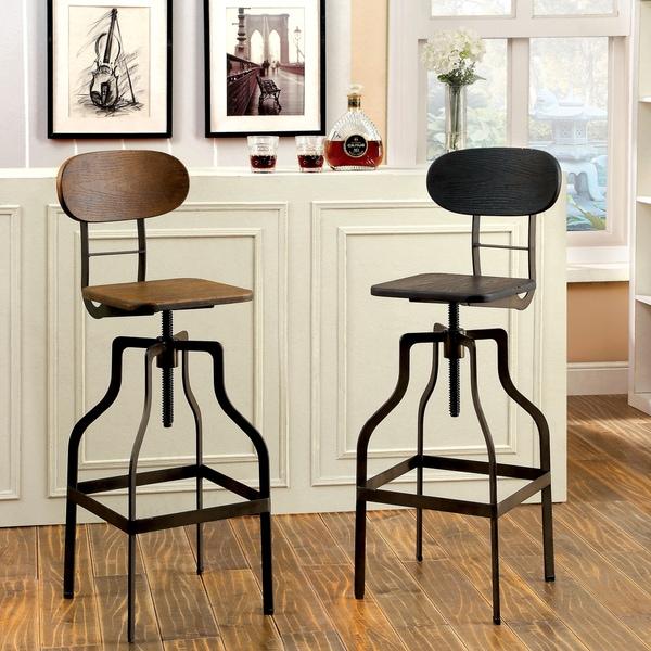 Furniture of America Damien Industrial Swivel Bar Chair