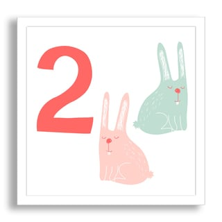 Gallery Direct Why Not Me CZ's 'Learn to Count: Two Sleepy Rabbits' Framed Paper Art