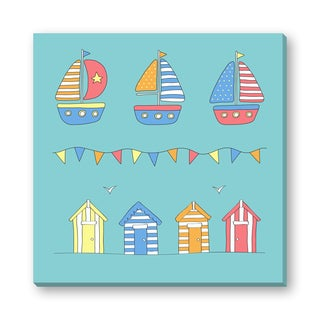 Gallery Direct Andy Frith's 'Beach Huts, Sailboats and Bunting - Beach Themed Baby Art' Gallery Wrapped Canvas