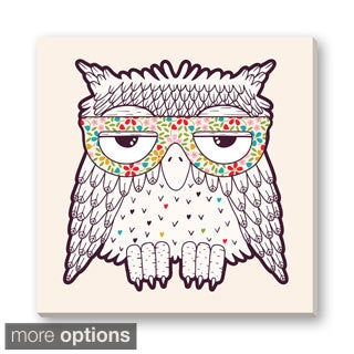Gallery Direct Tets's 'Owl in Funky Glasses' Gallery Wrapped Canvas