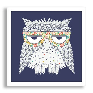 Gallery Direct Tets's 'Owl in Glasses with Blue Background' Framed Paper Art