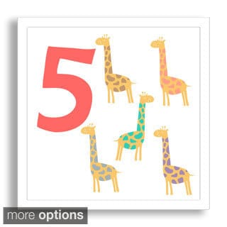 Gallery Direct Why Not Me CZ's 'Learn to Count: Five Proud Giraffes' Framed Paper Art