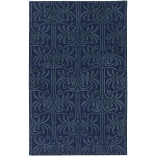 Hand-Tufted Lifeson Damask New Zealand Wool Area Rug