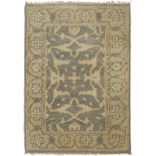 Hand-Knotted Tyrone Floral New Zealand Wool Rug (2' x 3')