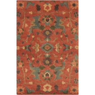 Hand-Knotted Abbigail Border New Zealand Wool Area Rug - 2' x 3'
