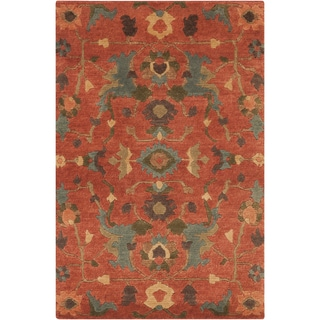 Hand-Knotted Abbigail Border New Zealand Wool Rug (2' x 3')